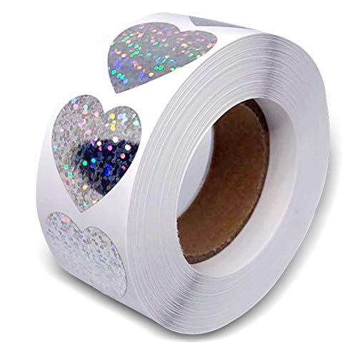 Silber Sparkle Herz Aufkleber, Valentinstag Liebe Glitterfolie Metallic Heart Aufkleber Stickers Glänzende holographische Etiketten Selbstklebende Scrapbooking Party Favours (500 Stück/Rolle)