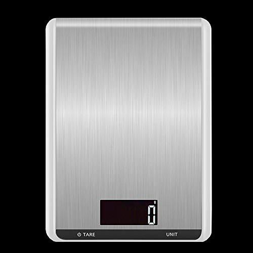 QAZW Acero Inoxidablebáscula Digital para, Ultra Delgada, con Pantalla LCD, Función De Tara, Lavable,Alta Precisión Báscula Electrónica Fina,White-10kg/1g