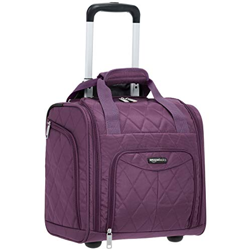 AmazonBasics Underseat Carry-On Rolling Travel Luggage Bag, 14 Inches, Purple Quilted