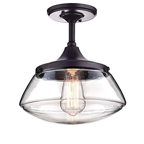 RUNNUP Luces de techo de, lámpara de araña de pantalla de cristal industrial vintage creativa Lámpara colgante de lámpara de techo Lámpara vintage para sala de estar/cocina/oficina/práctica
