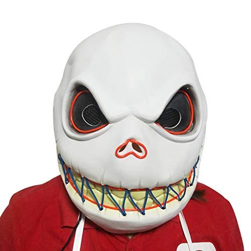 Artículos de Fiesta Máscara Luminosa de Cabeza Grande de Halloween Máscara de luz de Terror de Halloween Atrezzo de atmósfera de iluminación de Fiesta navideña Accesorios (Color : Blanco)