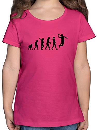 Evolution Kind - Handball Evolution Damen - 116 (5/6 Jahre) - Fuchsia - Evolution Handball mädchen - F131K - Mädchen Kinder T-Shirt