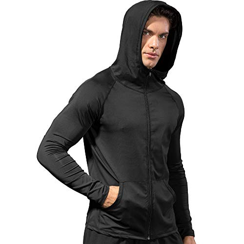 Nhicdns Dry Fit Track Jacket for Men - Long Sleeve Full-Zip Hooded Tranning Sweat Shirt, Fitness Workout or Running Black Medium