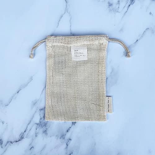 Bolsa de jabón   100% algodón orgánico   Para una exfoliación ligera y cremosa