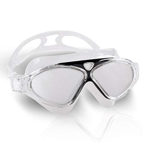 NO LABEL Schwimmbrille für Erwachsene – Triathlon-Brille – Anti-Kratz-Tri-Schwimmbrille – Weiche Maske – Offenes Wasser – Iron Man (transparent/schwarz)
