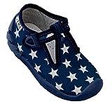 ARS Calzado para ninos pre-Escolar Deportes Plantilla de Cuero Zapatos Zapatillas de Estar por casa 20 21 22 23 24 25 26 (Azul Marino Estrellas, Numeric_26)