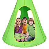 Costzon Kids Nest Swing Chair, Hanging Hammock Seat w/Adjustable Rope, 2 Windows and 1 Entrance, Hanging Tree Tent for Indoor Outdoor Use, 250LBS Capacity, All Accessories Included (Green, 32'')