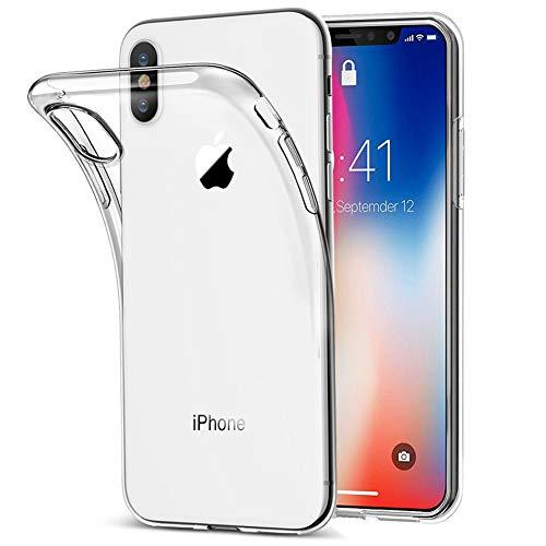 Amonke Funda iPhone X, Funda iPhone XS - Silicona Transparente TPU Carcasa, Flexible Suave Cristal Clear Ultra Slim Antigolpes Antiaraazos Bumper Case Cover para Movil Apple iPhone X XS