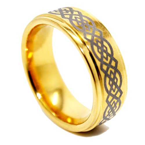 Blue Chip Unlimited 8mm Celtic Knot Golden Colored Tungsten Wedding Band Size (7)