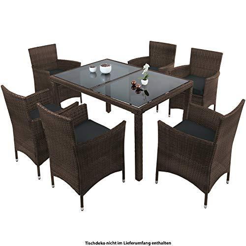 Montafox 13-teilige Polyrattan Essgruppe 6 Personen Tisch Stühle Auflagen Bezüge Sitzgruppe Terasse Esszimmer, Farbe:Schwarz-Braun meliert/Nachtschwärmergrau