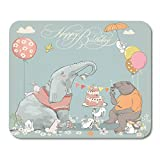Mauspad bunt Happy Birthday Cute Bear Elefant and Hasen Vintage Mousepad für Notebooks, Desktop Computer Mousepad 25x30cm