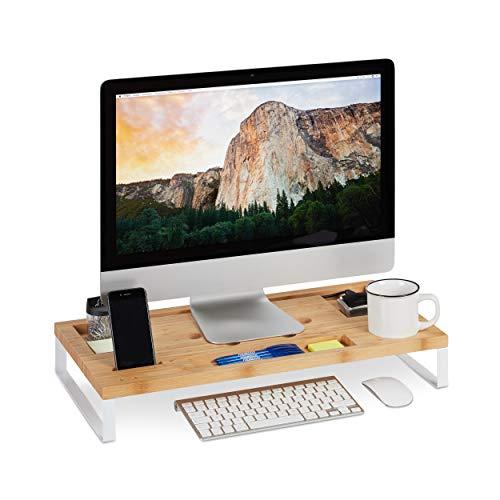 Relaxdays Monitorständer, PC Erhöhung aus Bambus und Eisen, für Monitor oder Laptop, ergonomischer Tischorganizer, weiß