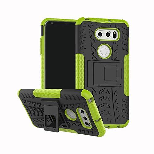 pinlu® Custodia per LG V30 Smartphone Armatura Rugged Heavy Duty Cover Doppio Strato TPU + PC Antiurto Protettiva Case Pneumatico Modello Verde