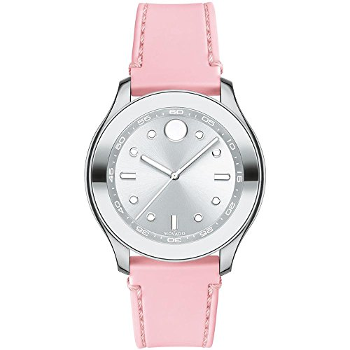 Movado Women's Stainless Steel Swiss-Quartz Watch with Rubber Strap, Pink, 19 (Model: 3600414)