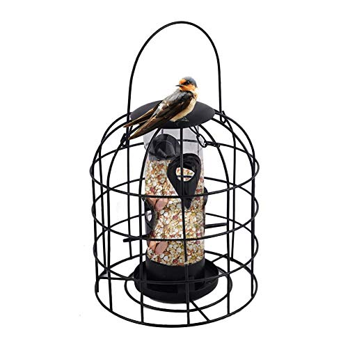 Urbenlife Metalen vogelvoerdispenser voor het ophangen van vogelhuisjes, voor tuin en balkon. Internes Kunststoffgitter -