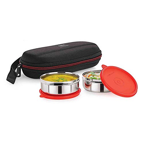 Cello Max Fresh Super Steel Lunch Box Set, 2-Pieces, Red