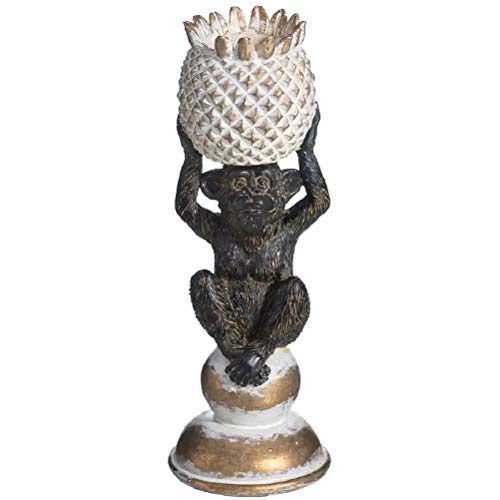 Porta candela scimmia ananas in resina 25 cm