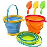 Holady Collapsible Buckets,Sand Buckets and Sand Shovels Set,Foldable Pail Bucket Multi Purpose for Beach, Camping Gear Water and Food Jug, Dog Bowls--2.5 L(3 PCS)