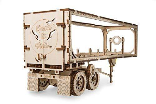 UGEARS Remolque de Camión VM-03 - Modelo Mecánico de Remolque Que Funciona - Puzzle 3D de Madera DIY