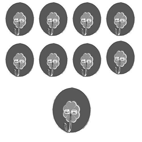 Set da 9, 2'tazze trasparenti per impieghi gravosi con gancio in acciaio inossidabile, ideali per doccia, bagno, cucina, finestre.