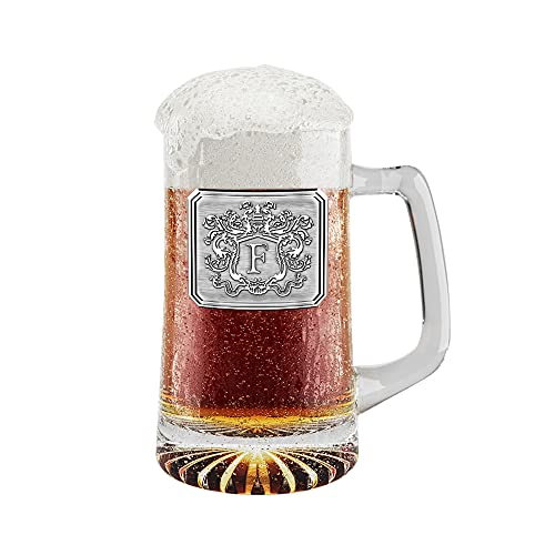 Fine Occasion Customized Beer Mug & Stein with Handle- Personalized Large Beer Glass Freezer Safe with Hand Crafted Pewter Monogram Initial Letter F (25 oz)