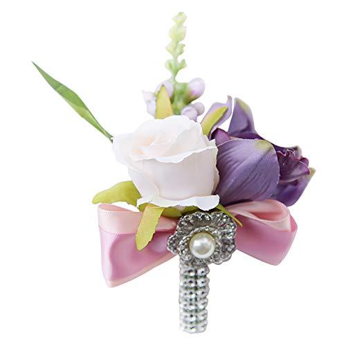 Demarkt Bruid Boutonnière, handgemaakte roos broche Boutonnière, bloem voor bruiloft, wit roze