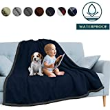 PAVILIA Waterproof Blanket Throw Navy Grey | Waterproof Pet Blanket for Dog Couch Protection | Leak Proof Sherpa Fleece Blanket for Bed Sofa | Liquid Resistant Large Soft Plush Throw 60x80 Inches