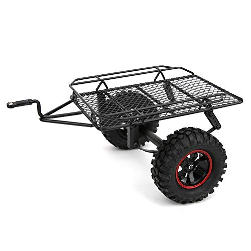RC Trailer, Axle Flatbed Trailer Kit Machined Axle Boat Trailer Metal Model Car Small Trailer Fit for D90 CC01 1/10 RC Truck