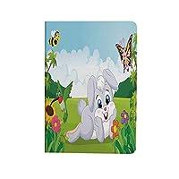 子供たち PUレザー 第4世代 iPad 10.9ケース ブック型 蜂と蝶と草の上のウサギの花子供漫画楽しいデザイン スタンド機能 オートスリープ機能付き ース 多色