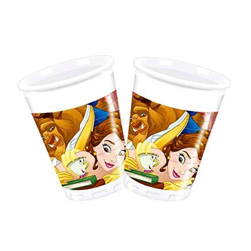 CAPRILO Lote de 24 Vasos de Infantiles Decorativos Bella y Bestia Disney. Vajillas y Cuberterías Juguetes y Regalos Baratos para Fiestas de Cumpleaños, Bodas, Bautizos, Comuniones y Eventos.