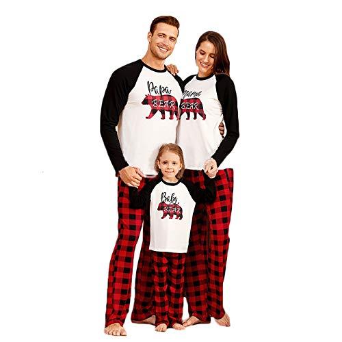 Christmas Pajamas Set for Family, Papa Mama Baby Bear Print Parent-Child Outfit Plaid Loungewear Sleepwear-5T Red