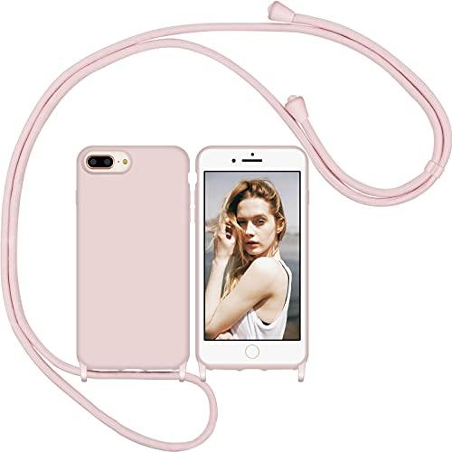 Nupcknn Funda Silicona Líquida con Cuerda para iPhone 7 Plus/8 Plus/6S Plus,Carcasa Suave Silicona Case con Correa Colgante Ajustable Collar de Cuello Cadena Cordón(Oro Rosa