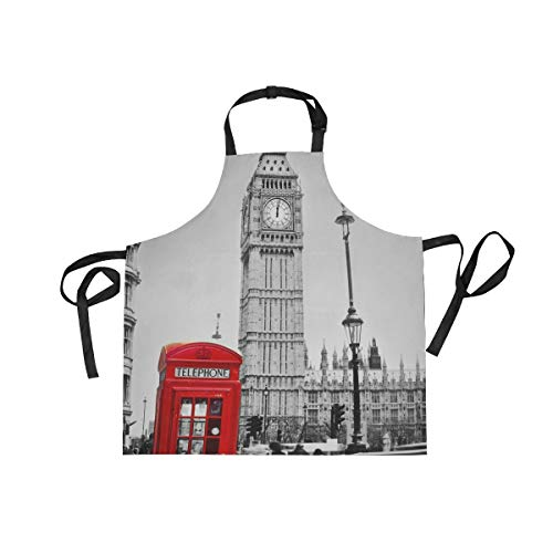 DOMIKING Delantal de cocina para mujeres y hombres, delantal de cocina Big Ben London con bolsillos ajustable cuello babero impermeable para cocina