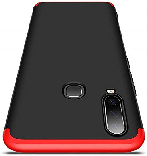 Colorcase 360 Degree 3 in 1 Edge to Edge Full Protection Anti ShockProok Back Cover Case Matte Finishing for ViVo U20 {2019} - {Black/Red}