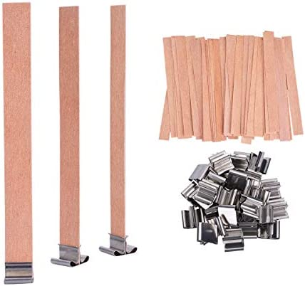 YoungRich 50 PCS Wood Candle Wicks with Iron Stand Candle Cores Natural Environmental Friendly product image