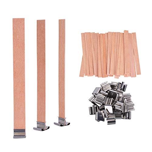 YoungRich 100 Pezzi Stoppini in Legno Naturale Stoppini Candela Cores con Ferro Stand per Candele Fai da Te Fatte a Mano 13 x 130mm