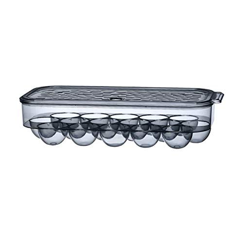 Kreativ och trendig PS plast kylskåp ägg förvaringsbox, 16-fack äggställ, genomskinlig anka äggförvaringslåda för kök 2 st (färg: svart)