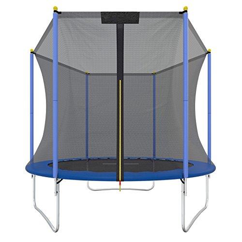 Ultrasport Trampolin one Cama elástica de jardín Promo, cama elástica infantil, set completo incl. superficie de salto, red de seguridad y revestimiento para borde, Azul, 244 cm