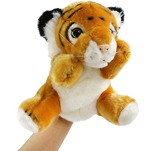 Marioneta de mano de tigre, animal de peluche de Safari, juguetes de peluche de la jungla, juguete de tigre realista de vida silvestre para contar historias, juego imaginativo y juego de roles