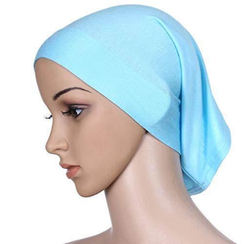 Demino Vrouwen Verstelbare Hoofddoek gemerceriseerde katoen Head Hood Plain Tube Cap Stretch Elastische hoofdbedekking