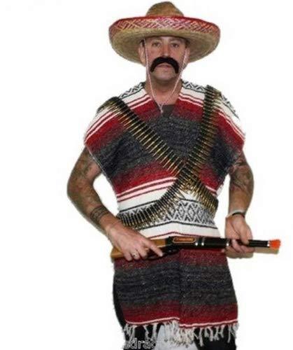 The Dragons Den Ensemble poncho mexicain avec grand sombrero en paille, ceinture en balles et moustache Rouge et Noir