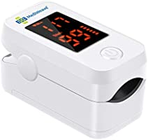 MediWeave Fingertip Pulse Oximeter, Digital Monitoring Pulse Meter Rate & SpO2, LED Digital Display with Batteries (6...