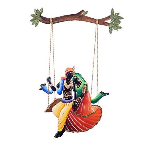Wgloryind Wrought and Cast Iron Radha Krishna Wall Hanging Jhula (60.96 x 40.64 x 2.39 cm, Multicolour)