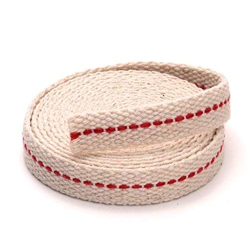 """Light of Mine 1/2"""" Inch 100% Cotton Flat Wick 6 Foot Roll for Paraffin Oil or Kerosene Based Lanterns and Oil Lamps with Genuine Red Stitch (1/2"""")"""