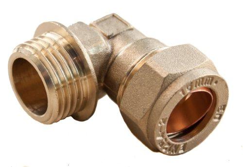 Plumb-Pak, PF13, Adattatore tubo, di sesso maschile, a forma di L, 15 mm x 0,5 pollici (1,27 cm)