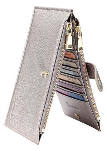 Travelambo Womens Walllet RFID Blocking Bifold Multi Card Case Wallet with Zipper Pocket Crosshatch (Silver gold)