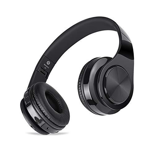 Auriculares inalámbricos, Bluetooth 5.0 plegable en la oreja, Hi-Fi Deep Bass inalámbrico y auriculares con cable para el hogar, oficina, clase online, teléfono móvil, PC, TV, color negro