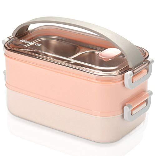 Gresunny 2 Strati Lunch Box impilabile Porta Pranzo Termica a Prova di Perdita Scatola Pranzo coibentato Portatile bento Box Acciaio Inox contenitori Alimentari per Ufficio Scolastico 1.6L Rosa