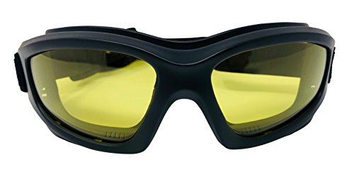 Yellow Motorcycle Riding Goggles: Night Vision Nighttime Riding Goggles'No Foam' Design w/Hard Case,...