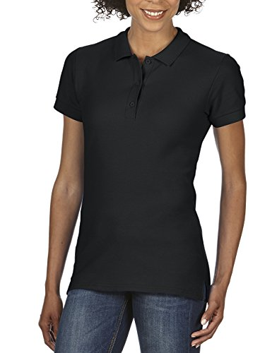 Gildan Damen Ladies' Premium Cotton Double Piqué Polo/85800L Poloshirt, Schwarz (Black 36), 44 (Herstellergröße: XL)